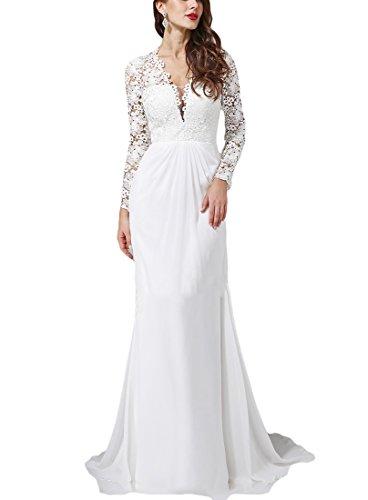 VikDressy Women's Vintage Long Sleeves Chiffon Lace Wedding Dress V-Neck Sheath Column Bridal Gowns