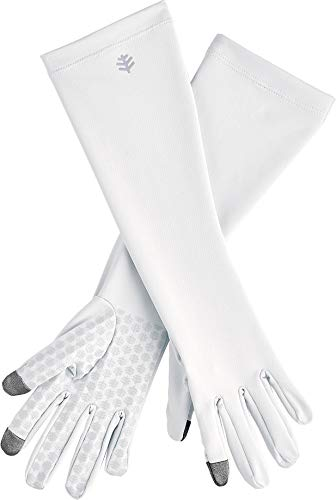 Coolibar UPF 50+ Unisex Bona UV Mid Length Gloves - Sun Protective (X-Large- White)