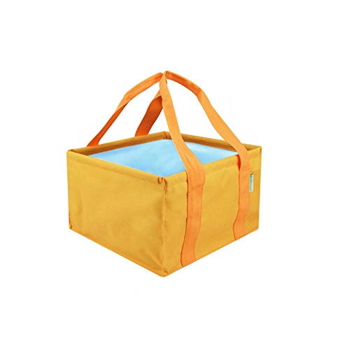 Folding Bucket, Home Multi-function Folding Bucket, Easy To Carry, Simple And Practical, Comfortable, Size: 292918 cm, Color: Brown, Green, Orange, Purple (Color : Orange, Size : 292918 cm)