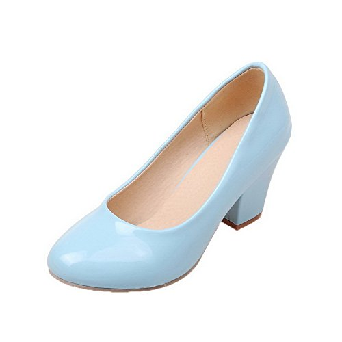 Odomolor Women's Patent Leather Round-Toe Kitten-Heels Pull-On Solid Pumps-Shoes, Blue, 38