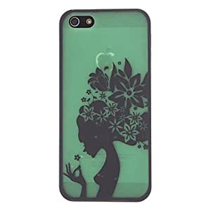 ZXM-Una niña encantadora con el patrón estuche duro de protección pelo flora para el iPhone 5/5S (colores surtidos)