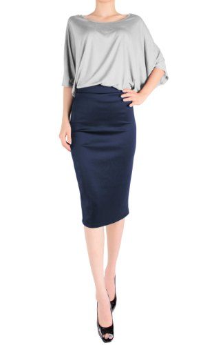 High Waisted Navy Pencil Skirt | Jill Dress
