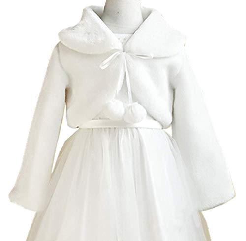 Flower Girl Jacket - H.X Little Girl's Winter Long Sleeve Faux Fur Bolero Outerwear Jacket Coat Wraps Shawl (8-12 years, White)