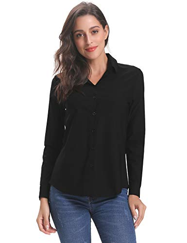 Abollria Womens Casual Work Blouse V Neck Button Down Shirt Top -