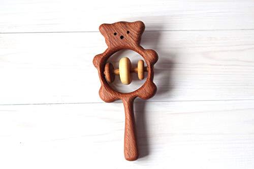 Organic Wood Montessori Styled Baby Rattle Wooden Bear rattle, Wooden teether, Teething toy, Wooden Rattle,Rattle for newborn, Rattle for baby,