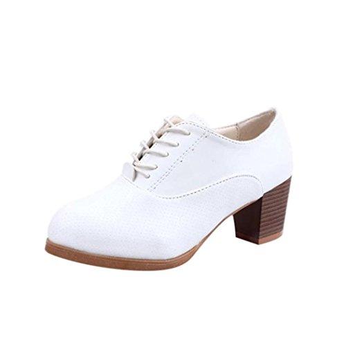 JIANGFU Frühling Rund mit Riemen Freizeit [Damenschuhe], Frauen Frühling Platz Holz Heel Schuhe Lace-Up Runde Kappe Freizeitschuhe Weiß