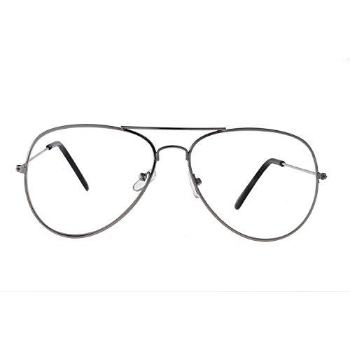 Forepin® Occhiali in Metallo Retrò aviatore Occhiali Decorativo con Lenti Trasparenti per Uomo Donna (Argenteo) Wif3WjmtXV