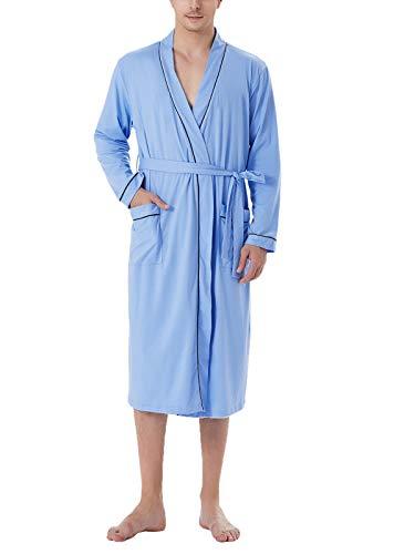 Sykooria Mens Lightweight Cotton Knit V-Neck Long Kimono Robes Bathrobe Soft Sleepwear Loungewear