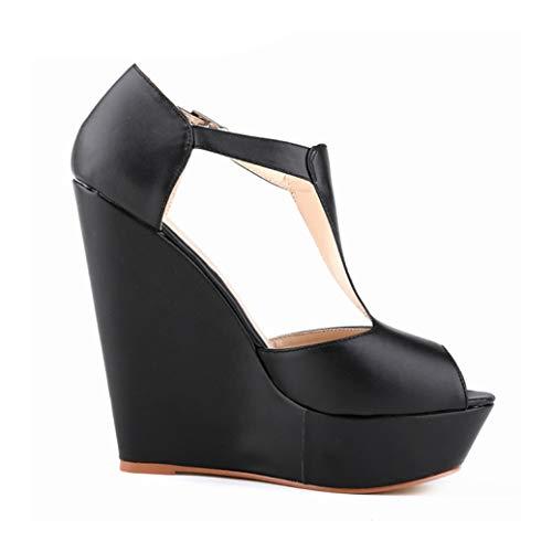 Women Sexy Wedge Sandals Peep Toe Buckle T-Strap Ladies Summer Outdoor Waterproof Non-Slip Solid High Heel Platform Sandal