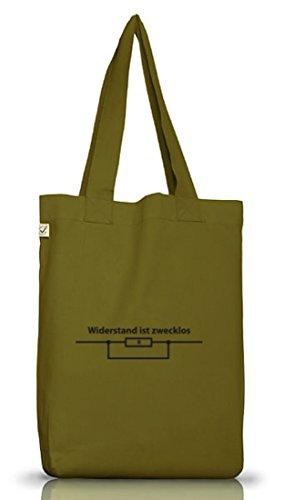 Shirtstreet24, WIDERSTAND IST ZWECKLOS, Jutebeutel Stoff Tasche Earth Positive Leaf Green