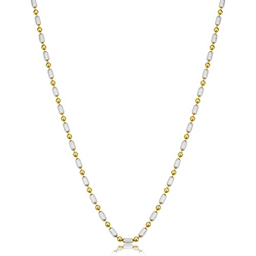 (Two-Tone Gold Over Silver Alternate Bead Necklace (2.3mm, 18 inch))