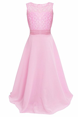 iEFiEL Big Girls Lace Chiffon Bridesmaid Dress Dance Ball Party Maxi Gown Pink (Ball Gowns For Tweens)