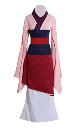 Super Coser Womens Heroine Mulan Cosplay Costume Halloween Dress (Kids M, Pink)