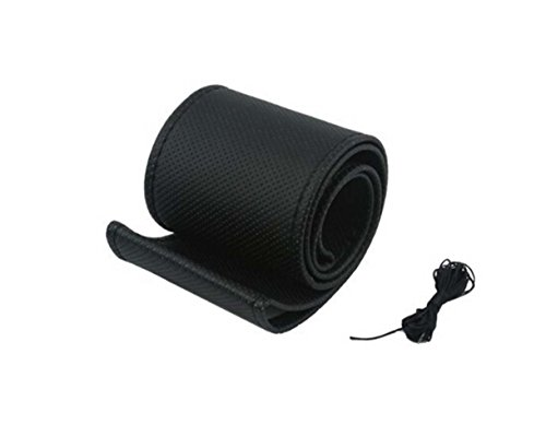 Wisdomtoy Diy Universal Hand Stitched Car Steering Wheel Wrap Cover Kits Genuine Leather Sewing With Needle And Thread Black
