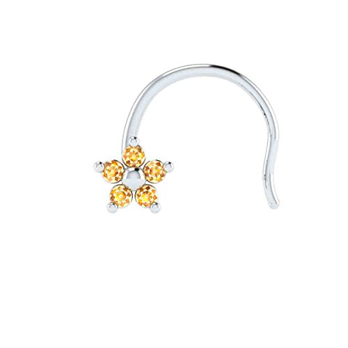 - 14k White Gold Real Citrine Flower Wedding Nose Body Piercing Ring Stud Pin Jewelry