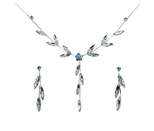 - Faship Gorgeous Aqua Rhinestone Crystal Floral Necklace Earrings Set - Light Aqua