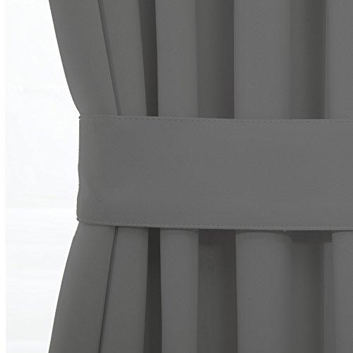 Blackout Door/ Window Curtain Panels for Privacy - Aquazolax 54W x 40L Blackout Window Treatment Curtains for French Door - 1 Panel, Grey by Aquazolax (Image #4)'