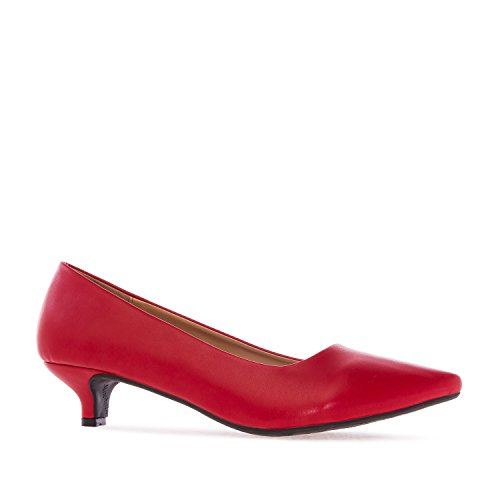 Andres Machado. AM5152.Salón en Soft .Mujer.Tallas Pequeñas/Grandes. 32/35-42/45. Rojo