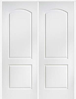 National Door Company Zz365071l Solid Core Molded 2 Panel Archtop Left Hand Active Prehung Interior Double Door 48 X 80 On 6 9 16 Jamb Mdf