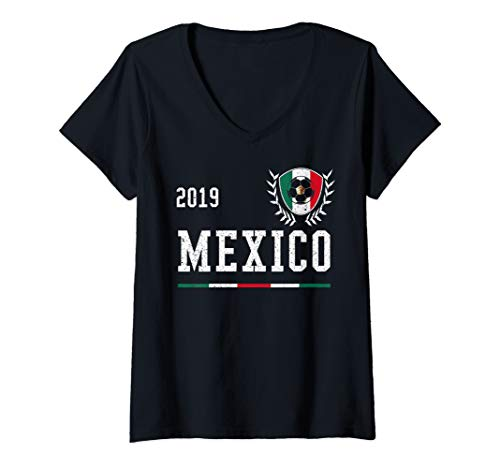 Womens Mexico Football Jersey 2019 Mexican Soccer Jersey V-Neck T-Shirt