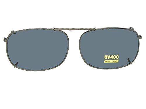 Rectangle Non Polarized Clip-on Sunglasses (Pewter-NON Polarized Gray Lens, 52mm Width x 35mm (Rage Gray Sunglasses)