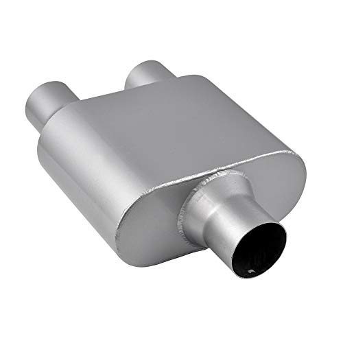 "Ai CAR FUN Inlet 3"",Outlet 2.5"" Dual Outlet Single Chamber Race Performance Muffler 13"" Oval Body Long,Aluminized Steel,Corrosion Resistance Heat"