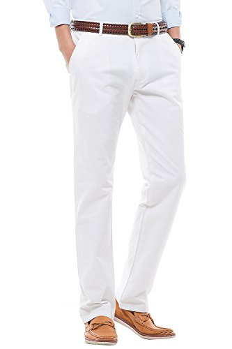 FlyHawk Men Casual Pants No Elasticity Straight No Iron Anti-Wrinkle Trousers,White,31 Mens White Slacks