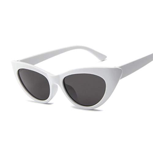 Vintage Cateye Sunglasses Women Cat Eyeer Small Frame Black Red Sun Glasses Brand Retro Skinny Eyewear(WhiteGray,onesize) (Slim Cat Eye Sonnenbrille)