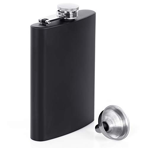 Choppie Flasks for Liquor for Men, Hip Flasks Leak Proof Tested, Sturdy Stainless Steel Flasks for Liquor, Durable Construction Flask and Funnel Set, Elegant Pocket Flasks for Liquor for Women Black