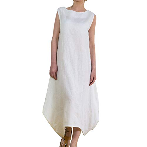 Women Summer Long Dress Elastic Cotton Linen Sleeveless Round-Neck Spring One Piece Dress Bohemian Style Beach Dress (White, M)