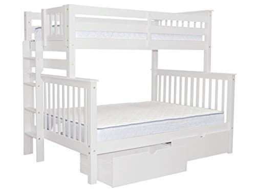 Bedz King Bunk Beds Twin over Full Mission Style with End Ladder and 2 Under Bed Drawers, White