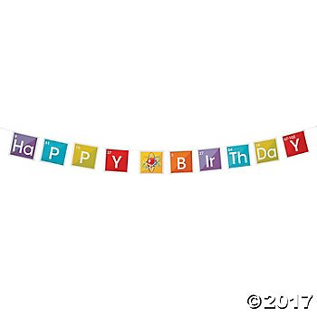 Science Party Birthday Paper Pennant Banner 8 ft