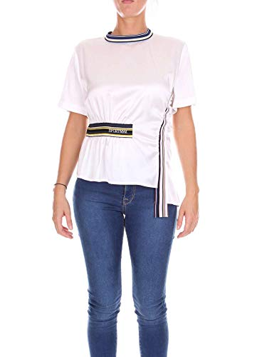 Blanc shirt Coton Sportmax Femme T 21110388000001 OxqHSTK4w8
