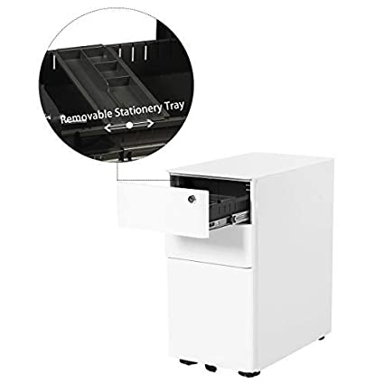 3-Drawer White Mobile File Cabinet for A4 Size Lockable Fully Assembled Except Casters DEVAISE Metal Filing Cabinet Pedestal