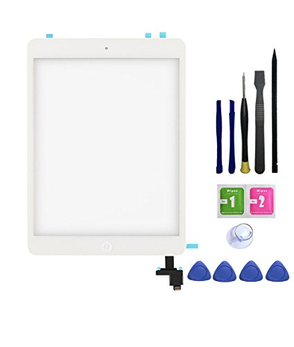 FeiyueTech iPad Mini & Mini 2 Touch Screen Digitizer Replacement Complete Assembly with IC Chip & Home Buttono & PreInstalled Adhesive and opening tool kit.(white) by FeiyueTech