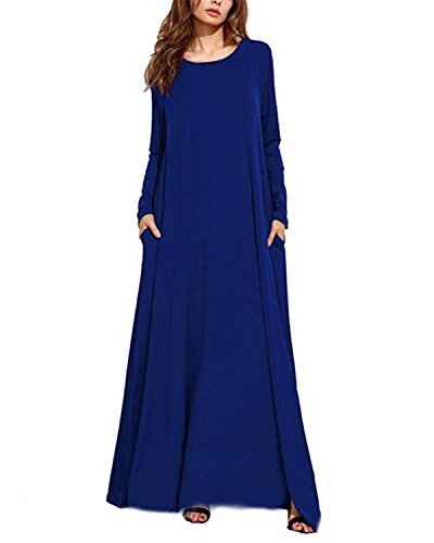 Kidsform Women's Long Sleeve Casual Loose Pocket Kaftan Party Long Maxi Dress Blue (Blue Kaftan)