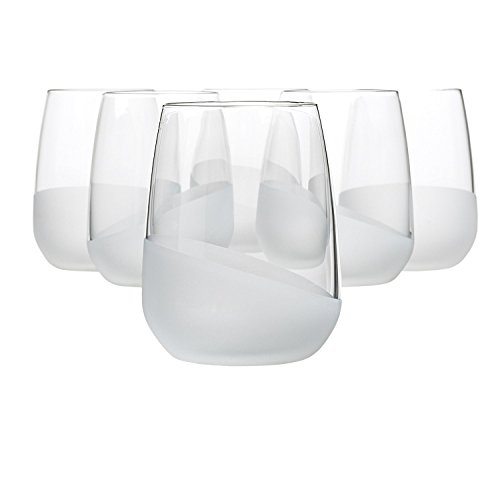 Bormioli Rocco Satin Wave Tumbler 14.5 Ounce, Set of 6 - Frosted Highball Glass