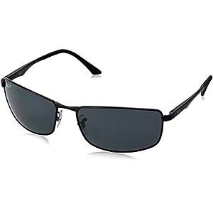 Ray-Ban Men's 0rb3498 Polarized Rectangular Sunglasses, Matte Black, 64 mm