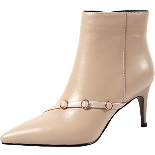 mid cm Ankle 5cm Juannoy Womens 6 7 Jushee Leather Heel Boots Beige66 Zipper waBItqnx