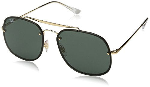 Ray-Ban RB3583N Blaze General Square Sunglasses, Gold/Green, 58 mm (3561 Ray Ban)