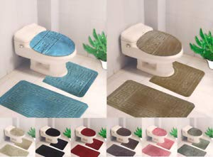Florance Jones 3PC Set Solid Chain Design Bathroom Bath MAT Countour Rug Toilet LID Cover (#10)   Style ()