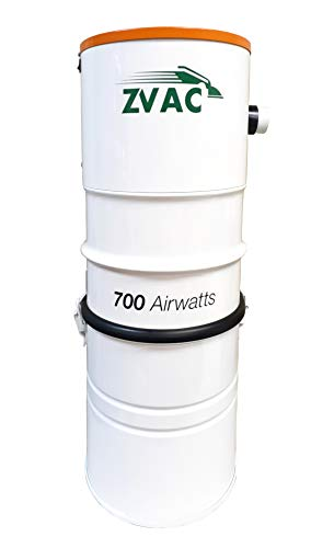 ZVac Central Vacuum System with 700 Air watts 26.5 L Tank Capacity Power Unit Vac – Powerful Quiet 2-Fan Motor for 10,000 Sq. Foot Homes Model ZCVS-1 Central Vac Bagged/Bagless Cleaner – White