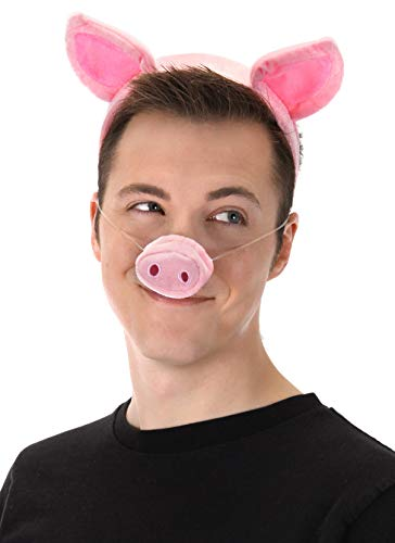 Pig Ears Costume Headband with Pig Nose and Tail by -