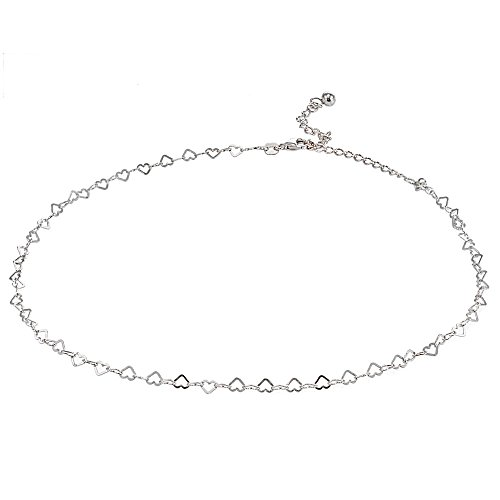 GemStar USA Sterling Silver Open Heart Italian Chain Choker Necklace