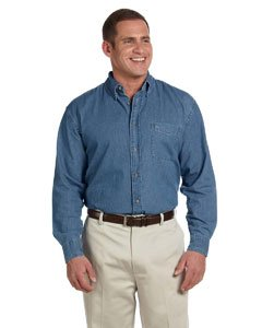 Harriton Men's 6.5 oz. Long-Sleeve Denim Shirt - LIGHT DENIM - L -