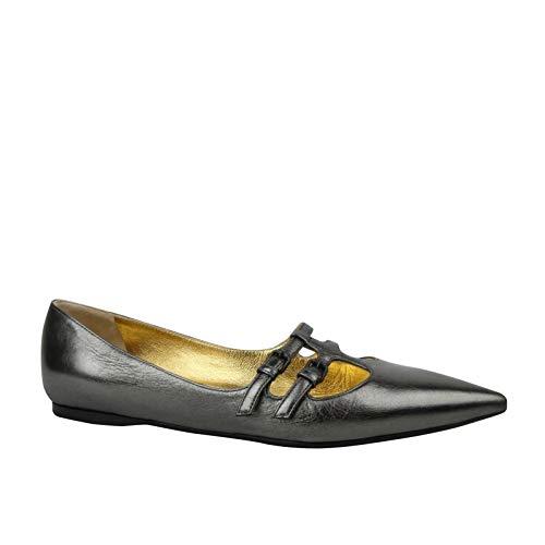 Bottega Veneta Women's Pointed Toe Grey Metallic Leather Flats 443149 1117 (EU 39.5 / US 9.5)