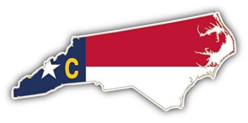 (North Carolina USA State Map Flag Home Decal Vinyl Sticker 6'' X 3'')