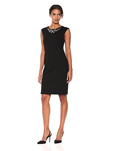 Embellished Sheath (Kasper Women's Compression Ponte Embellished Sheath Dress, Black, 6)