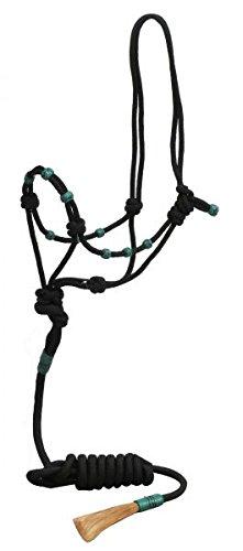 Showman Black Nylon Rope Horse Halter w/TEAL Rawhide Beads & 7' Horse Hair Popper ()