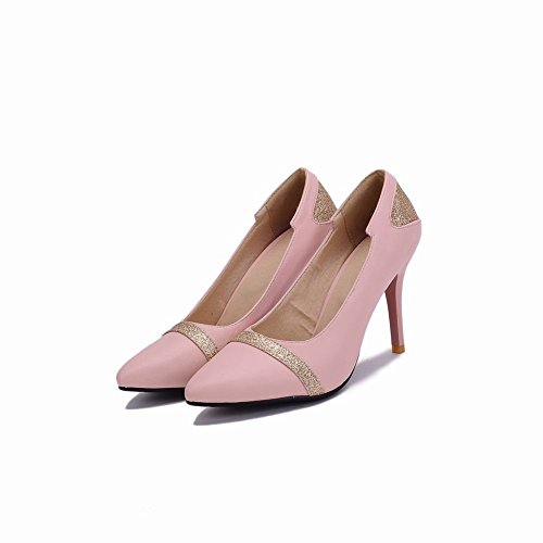 Carolbar Womens Pointed Toe Sexy Sequins Stiletto Heel Dress Pumps Shoes Pink 1jFtM